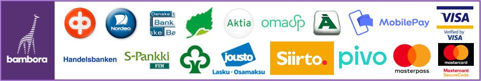 Verkkokaupassamme voit maksaa kaikkien verkkopankkien tunnuksilla, sekä yleisimmillä maksukorteilla.